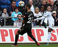 Renato Sanches of Swansea city crosses the ball past Jesus Gamez of Newcastle Utd. Premier league match, Swansea city v Newcastle Utd at the Liberty Stadium in Swansea, South Wales on Sunday 10th September 2017.<br /> pic by  Andrew Orchard, Andrew Orchard sports photography.