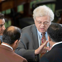 Texas Senate action on Monday, May 17, 2021 showing Sen.  Paul Bettencourt, R-Houston, with colleagues.