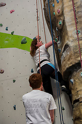Medical students and volunteers students from the University of Edinburghendured a training session on a climbing wall ahead of their research trip to the Andes which will study the effects of altitude and low-oxygen environments on the human body. Eleanor Dow makes a start on her training session. Centre for Sport and Excellence, University of Edinburgh24 April 2014 (c) GER HARLEY | StockPix.eu