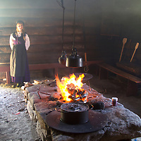 Europe, Norway, Molde. Traditional kitchen in Romsdal Museum in Molde.