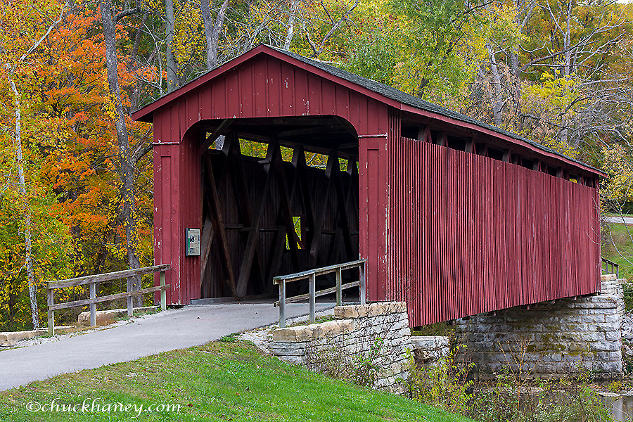 Cataract Covered Bridge over Mill Creek at Lieber State Recreation Area near Cloverdale, Indiana, USA
