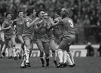 Mike Fillery celebrates his goal with Chris Hutchings - 3 (Chelsea) 6/3/82. Chelsea v Tottenham Hotspur. FA Cup 6th Rd Credit : Colorsport / Andrew Cowie