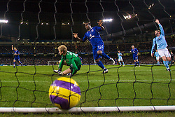 MANCHESTER, ENGLAND - Monday, February 25, 2008: Everton's Yakubu Ayegbeni scores the opening goal past Manchester City's goalkeeper Joe Hart during the Premiership match at the City of Manchester Stadium. (Photo by David Rawcliffe/Propaganda)