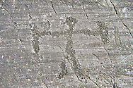 Petroglyph, rock carving, of schematic human figure with a sheilf and weapon. Carved by the ancient Camuni people in the Late Gopper Age between 2400 - 2200 BC. Rock 21,  Foppi di Nadro, Riserva Naturale Incisioni Rupestri di Ceto, Cimbergo e Paspardo, Capo di Ponti, Valcamonica (Val Camonica), Lombardy plain, Italy .<br /> <br /> Visit our PREHISTORY PHOTO COLLECTIONS for more   photos  to download or buy as prints https://funkystock.photoshelter.com/gallery-collection/Prehistoric-Neolithic-Sites-Art-Artefacts-Pictures-Photos/C0000tfxw63zrUT4<br /> If you prefer to buy from our ALAMY PHOTO LIBRARY  Collection visit : https://www.alamy.com/portfolio/paul-williams-funkystock/valcamonica-rock-art.html