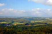 Wieżyca, 2011-07-05. Panorama Kaszub z trzydziestometrowej wieży widokowej im. Jana Pawła II, która stała się jedną z największych atrakcji turystycznych Kaszub.