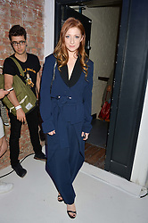 NICOLA ROBERTS at the OFFtheGRID event - a solar-powered party on a London rooftop to support our renewable energy future hosted by Dame Vivienne Westwood supported by the Trillion Fund at 151-155 New North Road, London N1 on 4th September 2014.