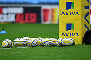 Gilbert Rugby balls in front of Aviva branded post during the Aviva Premiership match between Wasps and Exeter Chiefs at the Ricoh Arena, Coventry, England on 18 February 2018. Picture by Dennis Goodwin.
