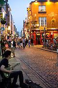 Ireland-street musician in Temple Bar neighborhood of Dublin.