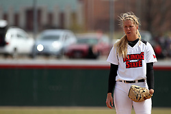 06 April 2013:  Pitcher Taylor Baxter during an NCAA Division 1 Missouri Valley Conference (MVC) women's softball game between the Drake Bulldogs and the Illinois State Redbirds on Marian Kneer Field in Normal IL
