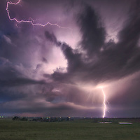 Cloud to ground lightning from a severe thunderstorm in eastern Colorado.