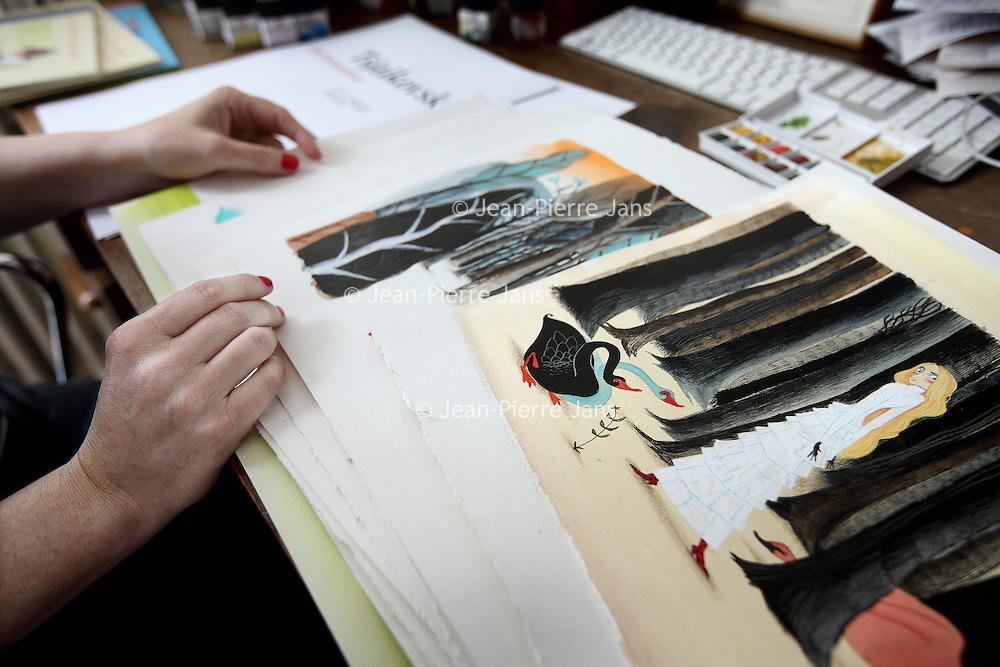 Nederland, Amsterdam , 26 juni 2011..Tekeningen van illustrator van kinderboeken Noelle Smit.Foto:Jean-Pierre Jans