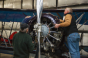 Volunteers complete scheduled maintenance on the Waco YPF-6 at WAAAM in Hood River, OR.