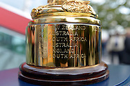 a Close up photograph of the engraved countries that  have won the Webb Ellis Trophy. RWC 2015, Coca Cola London Eye launch for the Rugby World cup event  in London on Tuesday 15th Sept  2015.<br /> pic by John Patrick Fletcher, Andrew Orchard sports photography.