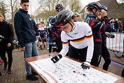 Lisa Klein signs on at Drentse 8 van Westerveld 2018 - a 142 km road race on March 9, 2018, in Dwingeloo, Netherlands. (Photo by Sean Robinson/Velofocus.com)