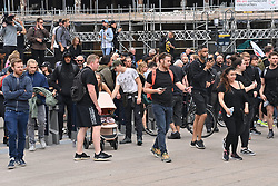 © Licensed to London News Pictures. 03/09/2021. London, UK. Anti Lockdown and anti Covid vaccination protesters take part in a demonstration in Canary Wharf calling for an end to mandatory vaccination passports and vaccination of teenagers. Photo credit: London News Pictures