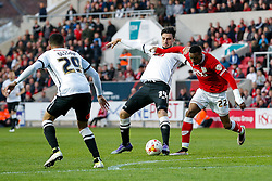 George Thorne of Derby County and Jonathan Kodjia of Bristol City compete for the ball - Mandatory byline: Rogan Thomson/JMP - 19/04/2016 - FOOTBALL - Ashton Gate Stadium - Bristol, England - Bristol City v Derby County - Sky Bet Championship.