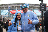 Manchester City fans outside the stadium prior to kick off. Capital One Cup Final, Liverpool v Manchester City at Wembley stadium in London, England on Sunday 28th Feb 2016. pic by Chris Stading, Andrew Orchard sports photography.