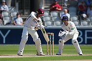 Northants Steelbacks L Wood  during the Specsavers County Champ Div 2 match between Lancashire County Cricket Club and Northamptonshire County Cricket Club at the Emirates, Old Trafford, Manchester, United Kingdom on 14 May 2019.