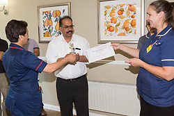 Care UK's Franklin House care home in West Drayton, London, has been awarded a Two Years Pressure Prevention Award from North West London NHS Foundation, in collaboration with Hillingdon TVN Team and Hillingdon CCG. Luxmi from TVN Team and Hillingdon CCG from North West London NHS Foundation presents Franklin House Manager Matthew V Matthew with the award and Michelle from TVN Team and Hillingdon CCG presents the certificate. London, July 11 2019.