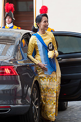 NO FRANCE - NO SWITZERLAND: May 4, 2017 : State Counsellor and Union Minister for Foreign Affairs of the Republic of the Union of Myanmar Aung San Suu Kyi, arrives at the Vatican for a private audience.