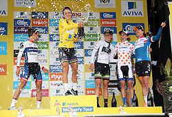 © Licenced to London 19/06/2016<br /> Kettering, Northamptonshire.UK. The winners podium with Lizzy Armitstead spraying Champagne in the winners Yellow Jersey of final stage of the Aviva Women's Tour. Photo credit Steven Prouse/LNP
