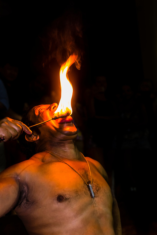 "Fire eating, ""Dances of Sri Lanka"" cultural performance, Kandy, Central Province, Sri Lanka."