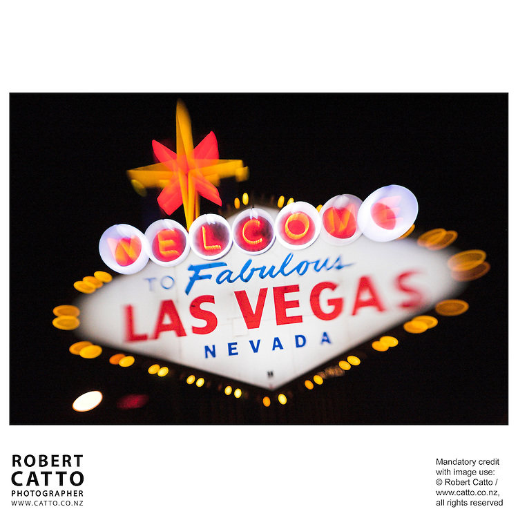 Neon sign reading 'Welcome to Fabulous Las Vegas, Nevada'.<br />