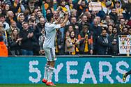 Raul Jimenez (Wolverhampton Wanderers) celebrates his goal 0-2 during the FA Cup semi-final match between Watford and Wolverhampton Wanderers at Wembley Stadium in London, England on 7 April 2019.