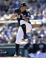 GLENDALE, ARIZONA - FEBRUARY 23:  Jose Ruiz #66 of the Chicago White Sox pitches against the Los Angeles Dodgers on February 23, 2019 at Camelback Ranch in Glendale Arizona.  (Photo by Ron Vesely)  Subject:  Jose Ruiz