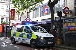 © Licensed to London News Pictures. 01/06/2018. London, UK. Emergency services at the scene at Holborn tube station in London where two knives were recovered after a man was arrested  and suspect package was found. The station has been closed. Photo credit: Tom Nicholson/LNP