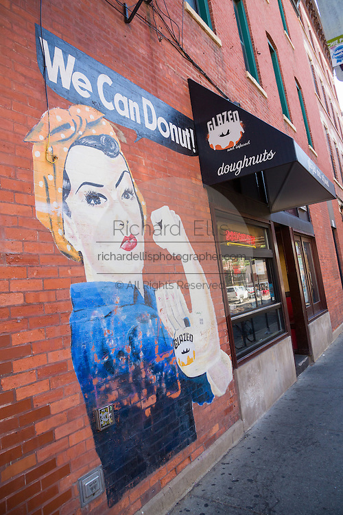 Glazed & Infused doughnut shop and mural in Wicker Park August 2, 2015 in Chicago, Illinois, USA.