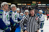 KELOWNA, BC - OCTOBER 16:  LInesman Cody Wanner stands at the bench of the Swift Current Broncos against the Kelowna Rockets at Prospera Place on October 16, 2019 in Kelowna, Canada. (Photo by Marissa Baecker/Shoot the Breeze)