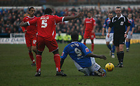 Wayne Allison (right~) is fouled by Wes Morgan (left)