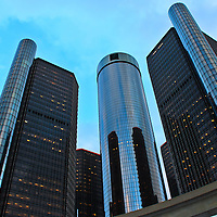 """""""The Renaissance Center"""" <br /> <br /> The beautiful architecture and design of a group of buildings on the Detroit River Front, known as The Renaissance Center, The RenCen, or The GM Renaissance Center. <br /> <br /> This group of buildings is the world headquarters for General Motors!<br /> <br /> Cities and Skyscrapers by Rachel Cohen"""