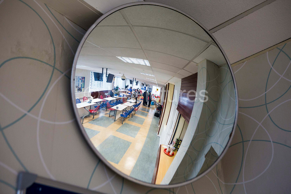 A secuirt mirror inside the prison visit centre. HMP/YOI Portland, a resettlement prison with a capacity for 530 prisoners.Dorset, United Kingdom.
