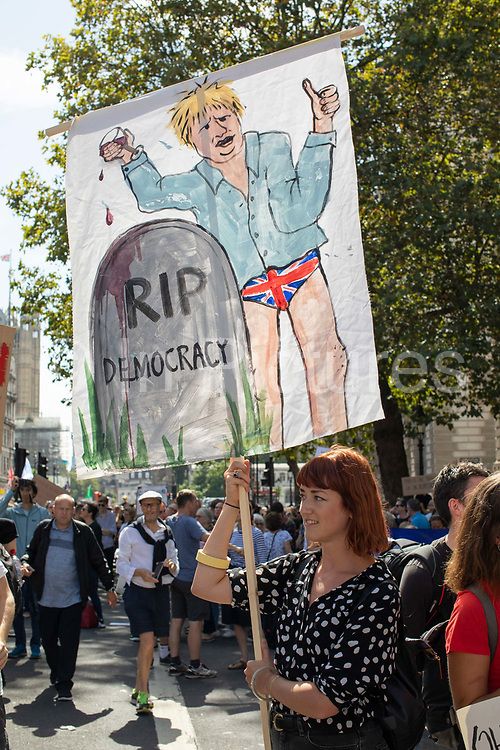 Protesters gather on Whitehall for the Stop The Coup protest against the proroguing of Parliament on 31st August 2019 in London in the United Kingdom. Left-wing group Momentum and the Peoples Assembly coordinated a series of Stop The Coup protests across the UK today, aimed at Boris Johnson and the UK government proroguing Parliament.