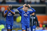 Yanic Wildschut of Cardiff city (35) , making his debut today, celebrates and does the 'ayatollah' signal to the Cardiff fans at the end of the game . EFL Skybet championship match, Cardiff city v Sunderland at the Cardiff city stadium in Cardiff, South Wales on Saturday 13th January 2018.<br /> pic by Andrew Orchard, Andrew Orchard sports photography.