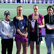 Winner Petra Kvitova of Czech Republic (3ndR) and second placed Victoria Azarenka of Belarus (3ndL) pose after the women's WTA tennis championships final match in Istanbul, October 30, 2011. Photo by TURKPIX