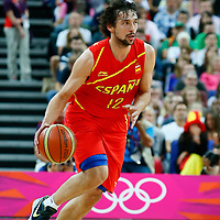 08 August 2012: Spain Sergio Llull brings the ball upcourt during 66-59 Team Spain victory over Team France, during the men's basketball quarter-finals, at the 02 Arena, in London, Great Britain.