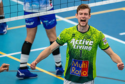 Jannes van der Ham #1 of Orion celebrate during the supercup final between Amysoft Lycurgus - Active Living Orion on October 04, 2020 in Van der Knaaphal, Ede