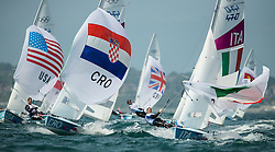 03.08.2012, Bucht von Weymouth, GBR, Olympia 2012, Segeln, im Bild Nincevic Enia, (CRO, 470 Women).Conti Giulia, Micol Giovanna, (ITA, 470 Women) // during Sailing, at the 2012 Summer Olympics at Bay of Weymouth, United Kingdom on 2012/08/03. EXPA Pictures © 2012, PhotoCredit: EXPA/ Juerg Kaufmann ***** ATTENTION for AUT, CRO, GER, FIN, NOR, NED, POL, SLO and SWE ONLY!