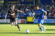 AFC Wimbledon striker Andy Barcham (17) dribbling during the EFL Sky Bet League 1 match between AFC Wimbledon and Bury at the Cherry Red Records Stadium, Kingston, England on 5 May 2018. Picture by Matthew Redman.