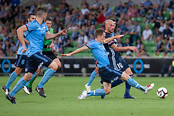 January 26, 2019 - Melbourne, VIC, U.S. - MELBOURNE, AUSTRALIA - JANUARY 26: Sydney FC midfielder Brandon O'Neil (13) defends the ball at the Hyundai A-League Round 16 soccer match between Melbourne Victory and Sydney FC on January 26, 2019, at AAMI Park in VIC, Australia. (Photo by Speed Media/Icon Sportswire) (Credit Image: © Speed Media/Icon SMI via ZUMA Press)