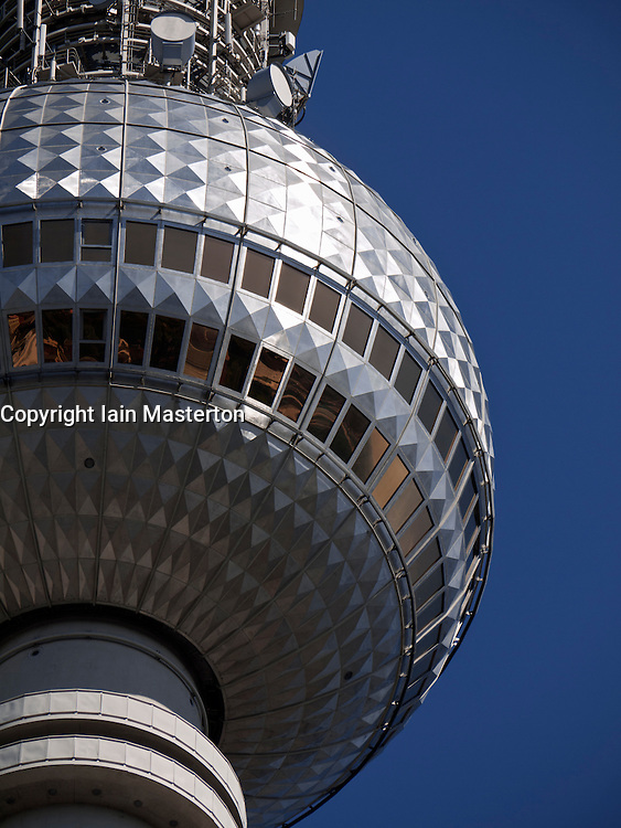 detail of Fernsehturm or Television Tower at Alexanderplatz  in Mitte Berlin Germany