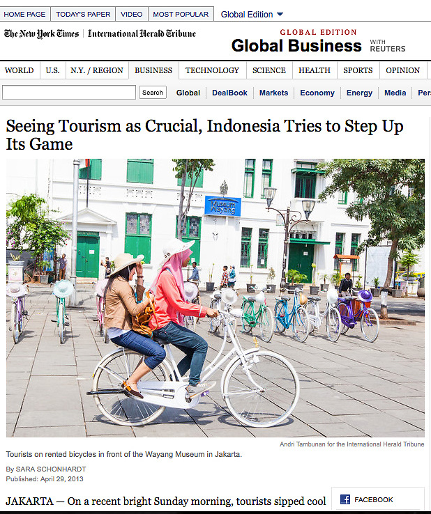 Seeing Tourism as Crucial, Indonesia Tries to Step Up Its Game. http://www.nytimes.com/2013/04/30/business/global/30iht-tourism30.html?pagewanted=all&_r=0