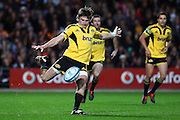 Hurricanes' Beauden Barrett puts in a kick. Super Rugby rugby union match, Chiefs v Hurricanes at Waikato Stadium, Hamilton, New Zealand. Saturday 28th April 2012. Photo: Anthony Au-Yeung / photosport.co.nz