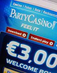 Detail of online casino PartyCasino website homepage screen shot