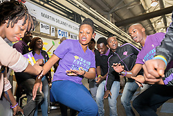 """Members of """"love Life"""", dancing and singing in the Global Village of the 2016 International AIDS Conference in Durban, South Africa."""