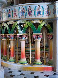 Ornate painted frieze and columns at Jain Temple, Mumbai