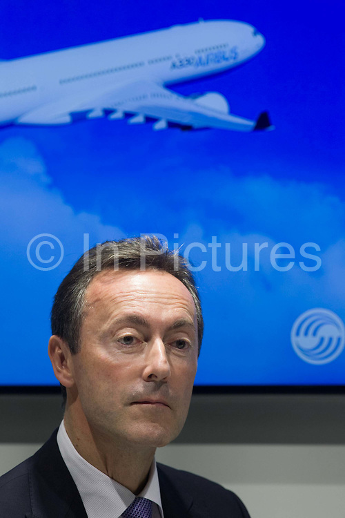 Airbus CEO Fabrice Bregier announcing aircraft orders at the Farnborough Air Show, England. At the 2014 show, Airbus announced new business worth more than $75m for 496 aircraft, a new record for the company. Airbus is an aircraft manufacturing division of Airbus Group (formerly European Aeronautic Defence and Space Company). Based in Blagnac, France, a suburb of Toulouse, with production and manufacturing facilities mainly in France, Germany, Spain and the United Kingdom, the company produced 626 airliners in 2013.
